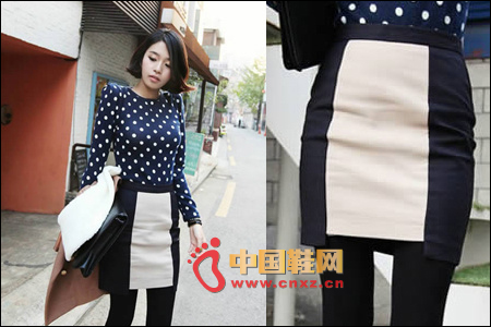 Black and white stitching skirt