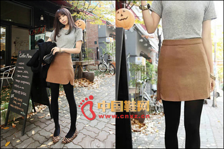 Short wool material skirt