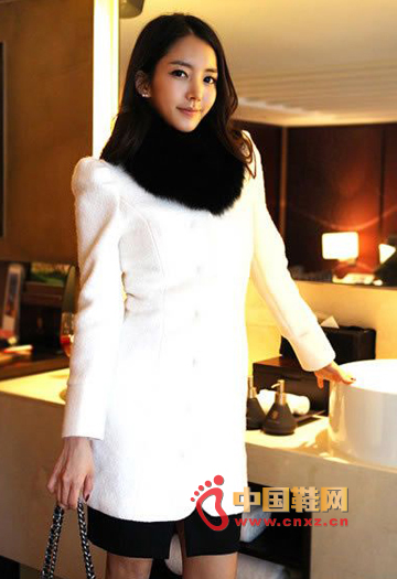 Fur collar woolen coat
