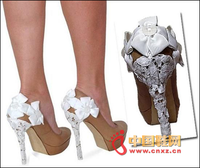 White lace flower decorated high heels