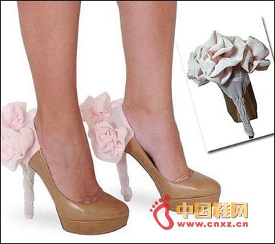 Pink silk flower styling high heels