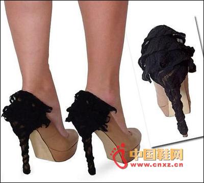 Black multi-layer lace decorative high heels