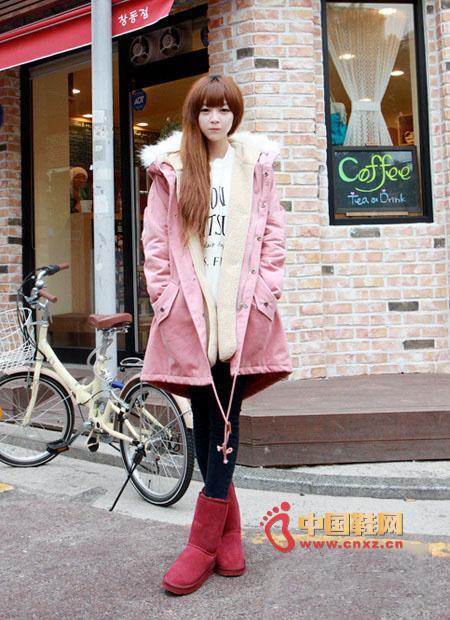 Light pink straight-type cotton padded, thick lamb hair, super warm, crisp cotton fabric