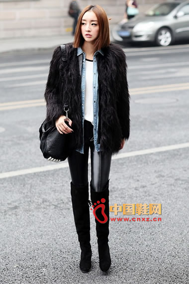Black fur coat, denim shirt, white T-shirt, leather pants, black knee boots