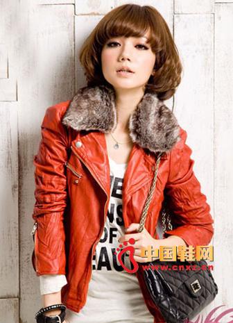 Korean Slim Short Red Leather Jacket + Grey Slim Jeans + Painted Leather Ridge Shoulder Bag, Vivi Popular Dress Up