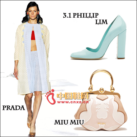 Prada is stacked in the early spring with the best fit for the winter season, with Miu Miu vintage clutch bag and 3.1 Philliplim shallow mouth square shoes
