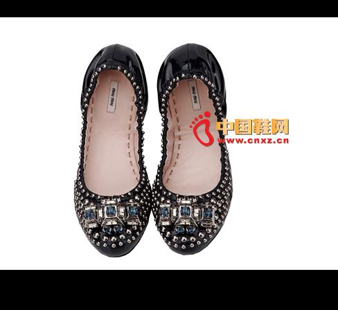 MiuMiu blue leather flat shoes