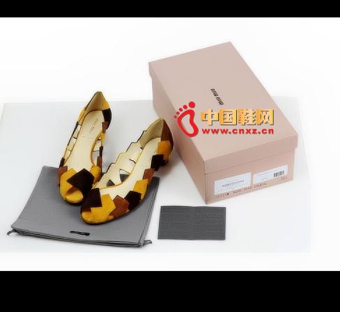 MiuMiu hollow stitching flat shoes