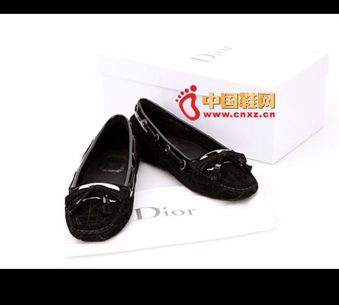 Christian Dior black patent leather flat shoes