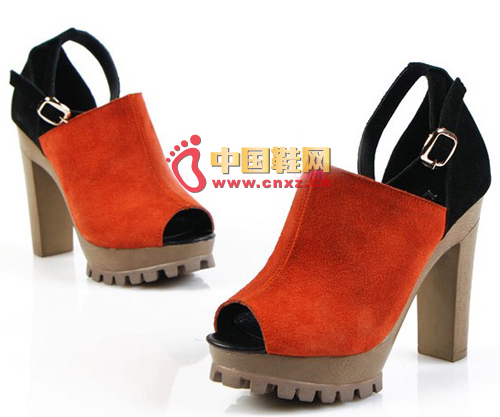 Leather hit color fish mouth shoes