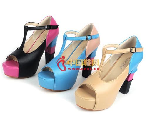 Colorblock T-type waterproof platform high heels