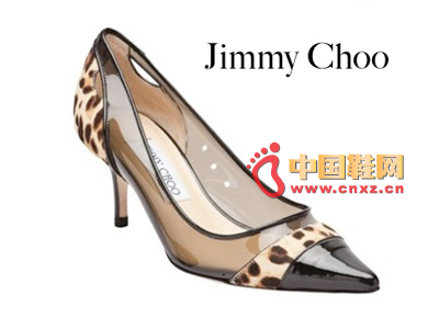 Jimmy Choo stitching transparent material pointed low-heeled shoes