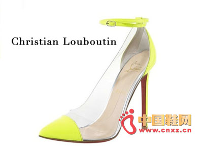 Christian Louboutin stitching transparent material pointed high heels