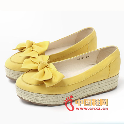 Tianmeiyi thick-soled platform shoes, exquisite bow toe decoration is pretty, stylish, more youthful and lively on the feet