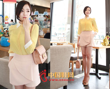 Collar and cuff color, bright yellow bodice, this carefully matched color contrast