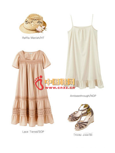 Lace square led Mori girl dress + bottom strap dress + hollow flowers straw hat + T-weave wedge sandals
