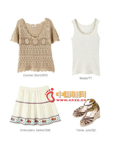 Hollow knit blouse + ribbed base vest + ethnic style embroidered dress + T-weave wedge sandals