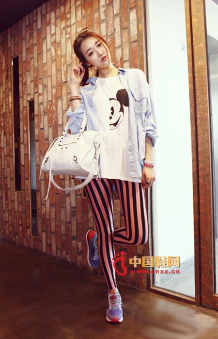 Vertical stripes color matching leggings