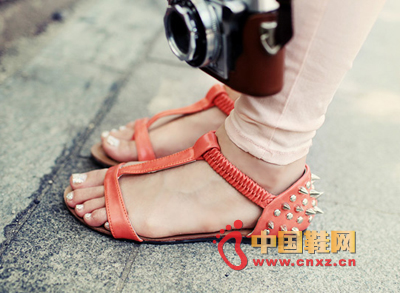Apricot pink flat sandals, especially light, beautiful color T sandals