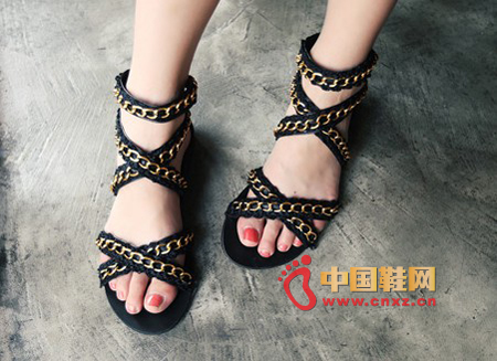 Roman style strappy sandals, decorated with metal chain, with a bit of punk