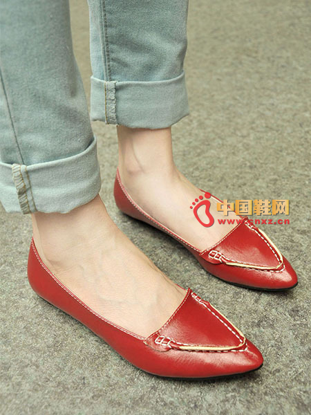 Minimalist style pointed shallow mouth shoes, super positive color, super beauty style, suture decoration