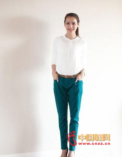 Green pants, loose feet version, simple and comfortable