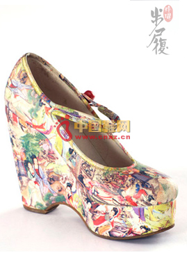 Exquisite Red Flower Dream Printed Leather Shoes