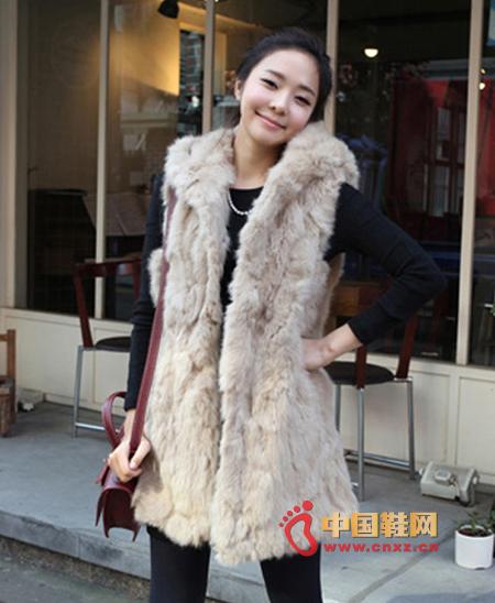 Autumn and winter imitation rabbit leopard shawl vest, hooded full rabbit hair design