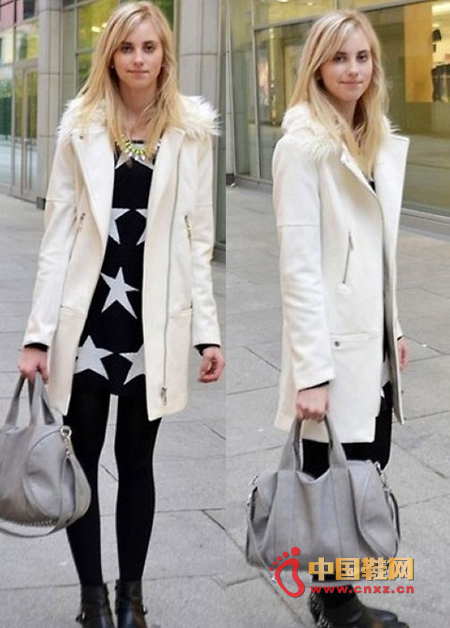 Elegant white long coat, simple pattern, small lapels and soft rabbit hair edges