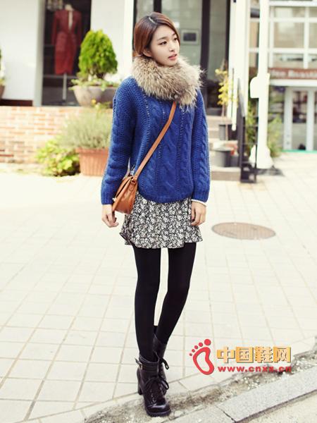 Wool-blend knit sweater with braided mesh holes, irregular arc hem design