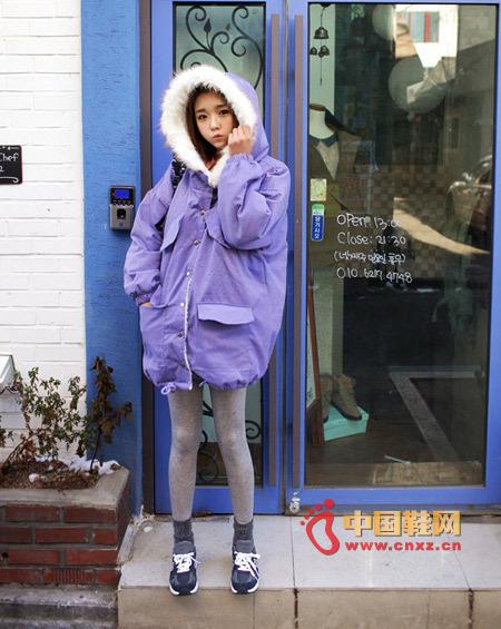 Bright purple loose cotton jacket, loose version, no sense of restraint