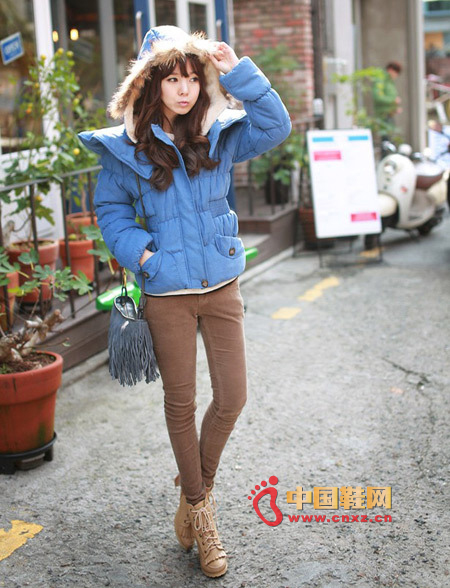 Candy-colored short cotton padded jacket with a small cape on the shoulder