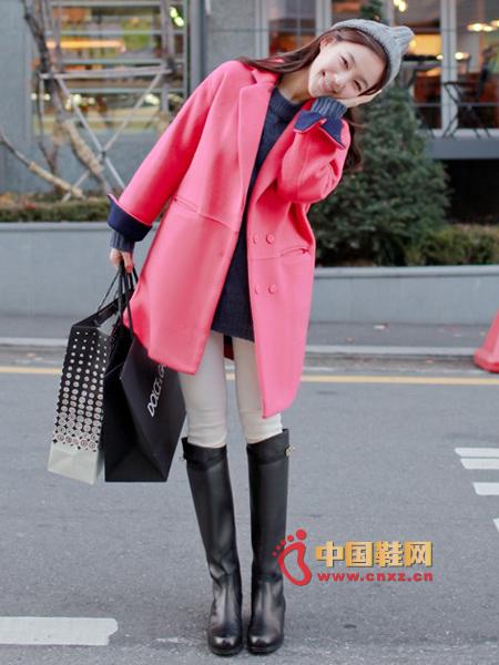 Elegant Korean pink wool coat, court-like gorgeous feeling