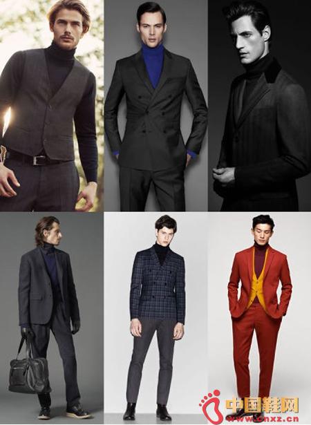 High collar merino sweater with suit/suit vest