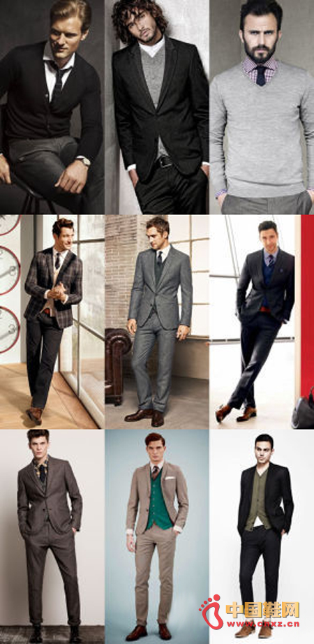 Cardigan / Pullover with Shirt Tie Suit