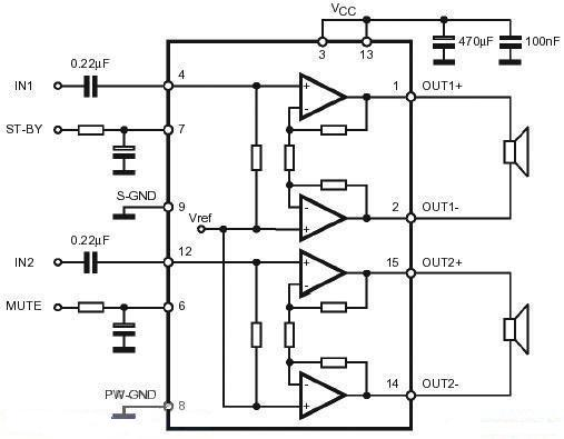 TDA7266 dual audio stereo amplifier circuit diagram