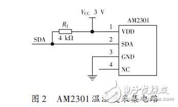 AM2301 temperature and humidity acquisition circuit