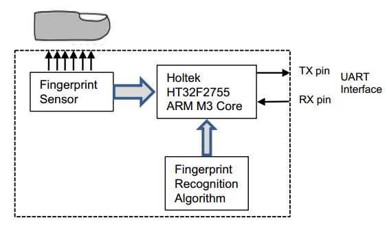 Embedded fingerprint identification module function simplified diagram