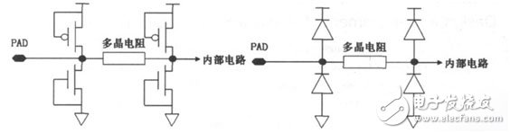 Common ESD protection structure and equivalent circuit