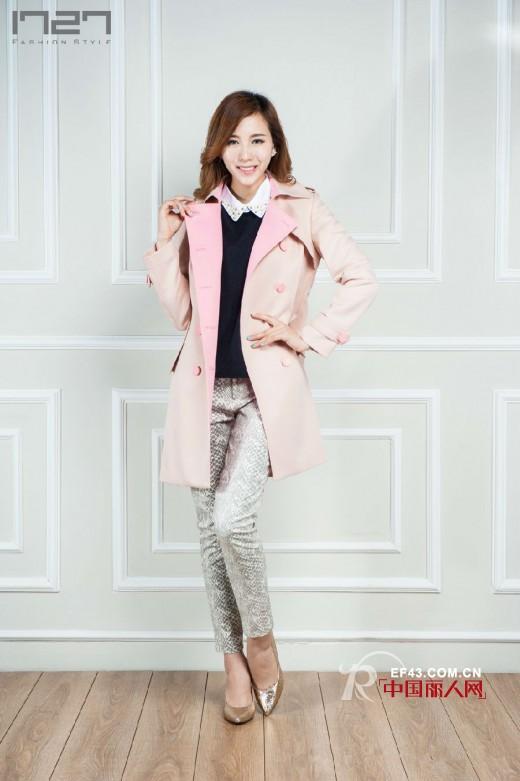 1727女装2014秋装系列新品:蛇纹风衣、蛇纹长裤怎么搭配
