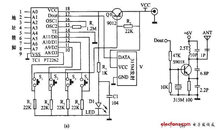 Four-way remote control transmitting circuit