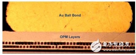 Figure 8. Gold ball bonding on the OPM pad after 6,000 hours at 195 °C.