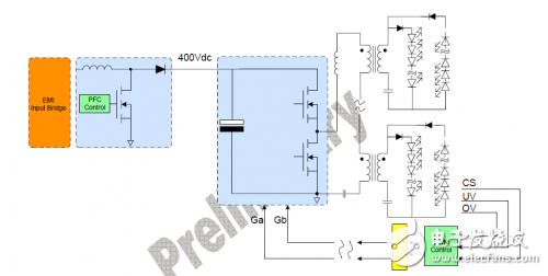 New Topology Block Diagram Two-stage circuit structure with PFC and multi-string isolation transformer LLC converter
