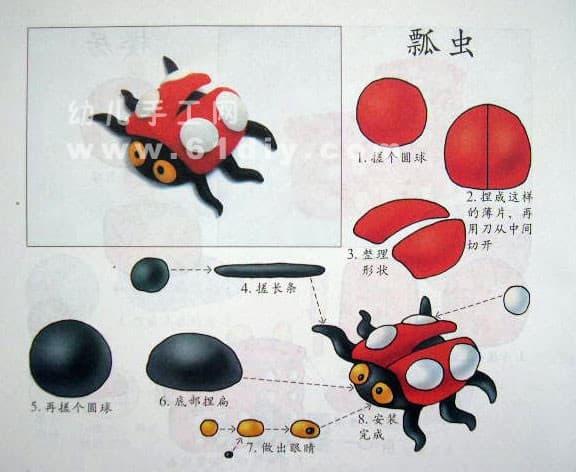 Children's color mud making - Seven Star Ladybug