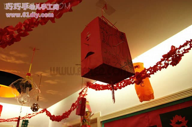 Holiday Lantern -12 - Handmade Lanterns 3 in the kindergarten corridor, large paper boxes, just look at the paintings
