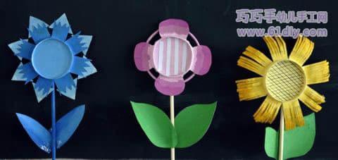 Various paper cups handmade flowers