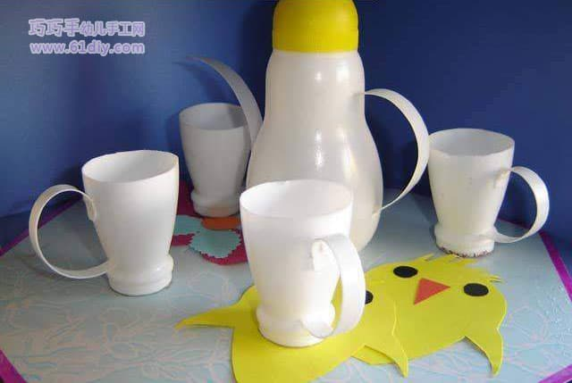 Yogurt bottle handmade tea set