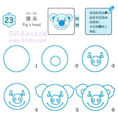 Stick figure of pig's head
