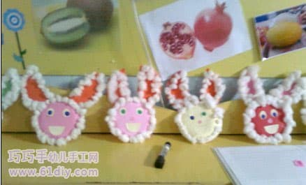 Cotton ball making bunny
