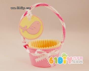 Cute mini basket (disposable bowl handmade)
